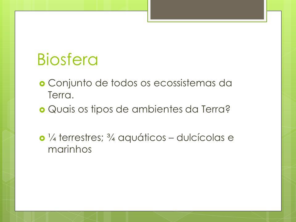 Biosfera  Conjunto de todos os ecossistemas da Terra.