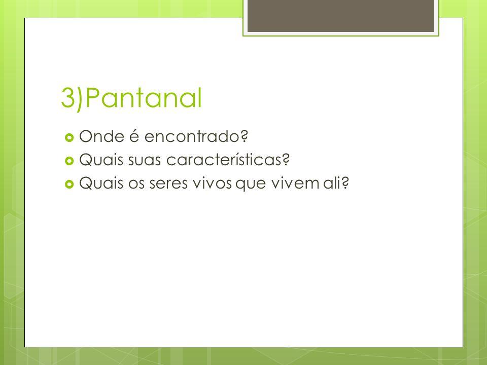 3)Pantanal  Onde é encontrado?  Quais suas características?  Quais os seres vivos que vivem ali?