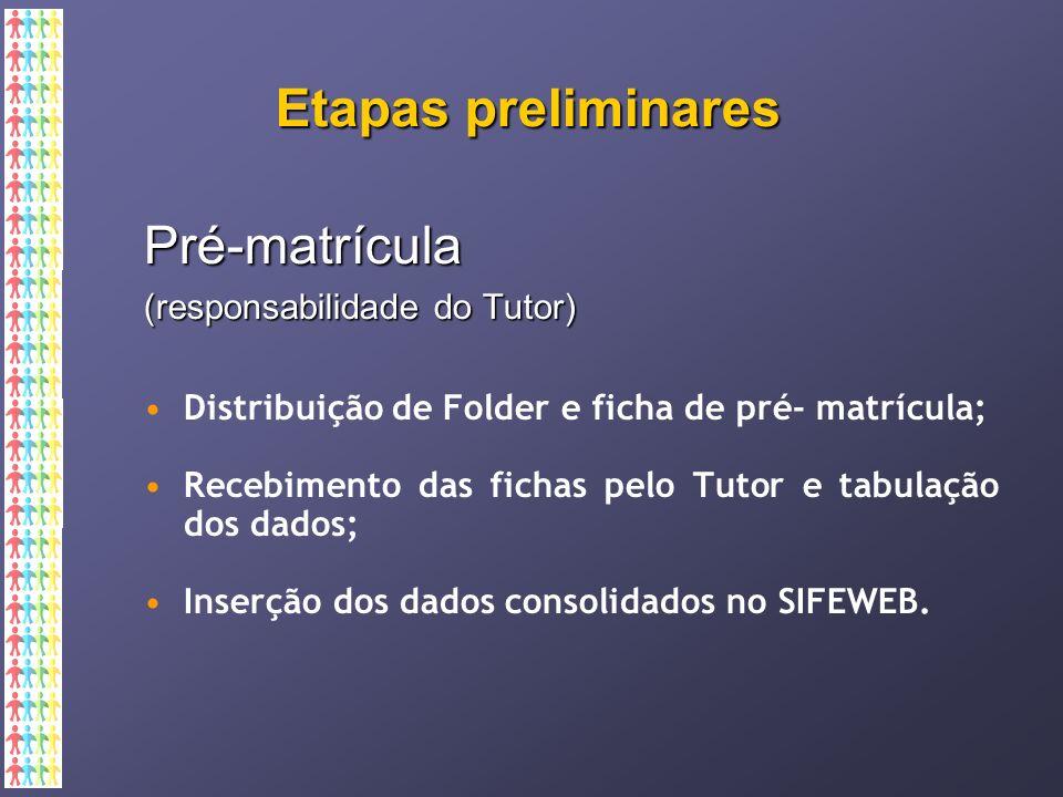 Etapas preliminares Pré-matrícula (responsabilidade do Tutor) Distribuição de Folder e ficha de pré- matrícula; Recebimento das fichas pelo Tutor e tabulação dos dados; Inserção dos dados consolidados no SIFEWEB.