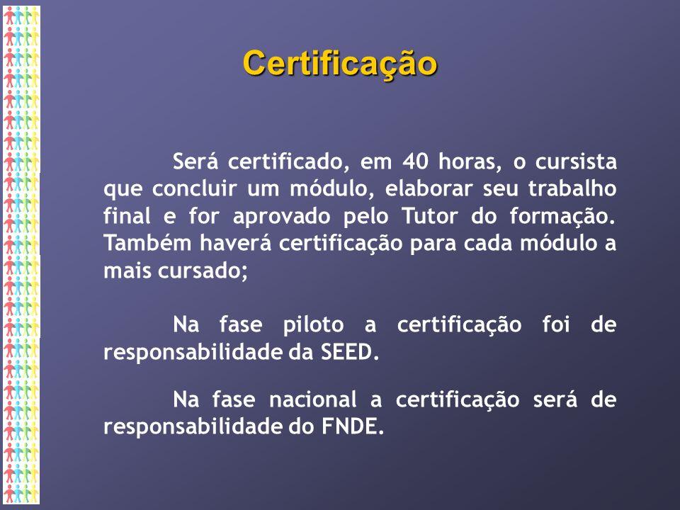 Certificação Será certificado, em 40 horas, o cursista que concluir um módulo, elaborar seu trabalho final e for aprovado pelo Tutor do formação.