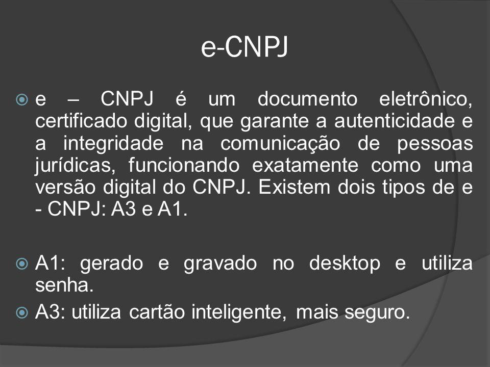e-CNPJ  e – CNPJ é um documento eletrônico, certificado digital, que garante a autenticidade e a integridade na comunicação de pessoas jurídicas, fun