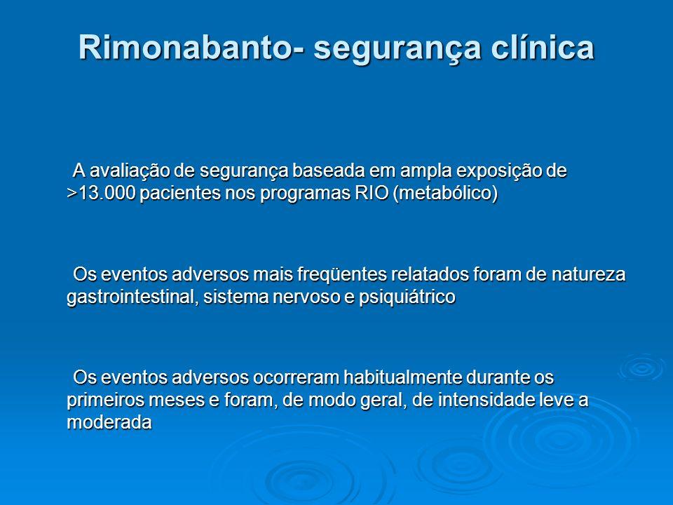 Rimonabanto- segurança clínica A avaliação de segurança baseada em ampla exposição de >13.000 pacientes nos programas RIO (metabólico) A avaliação de