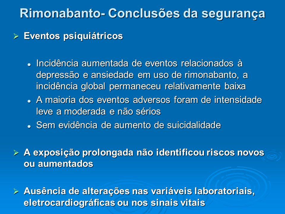 Rimonabanto- Conclusões da segurança  Eventos psiquiátricos Incidência aumentada de eventos relacionados à depressão e ansiedade em uso de rimonabant