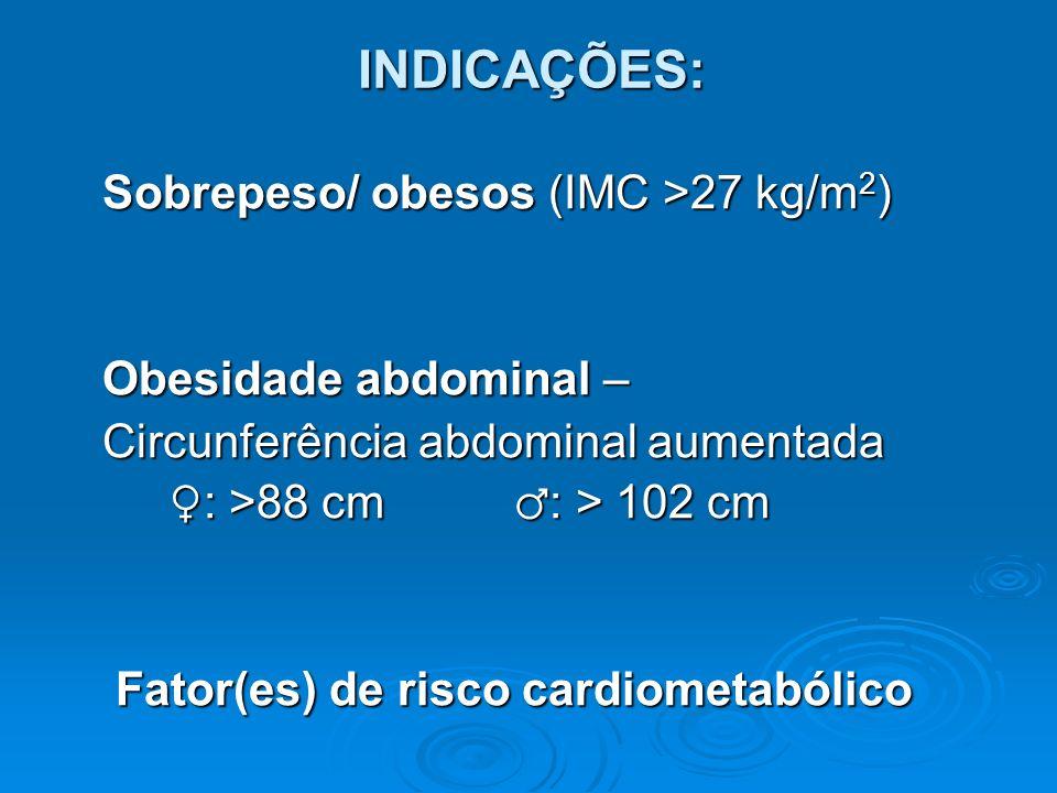 INDICAÇÕES: Sobrepeso/ obesos (IMC >27 kg/m 2 ) Sobrepeso/ obesos (IMC >27 kg/m 2 ) Obesidade abdominal – Obesidade abdominal – Circunferência abdomin