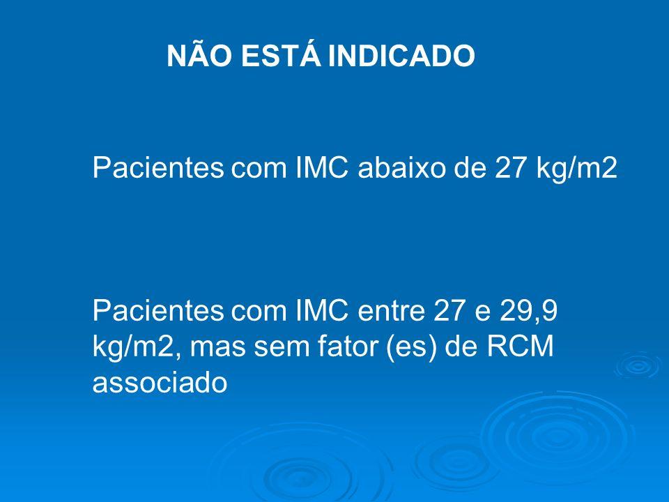 Pacientes com IMC abaixo de 27 kg/m2 Pacientes com IMC entre 27 e 29,9 kg/m2, mas sem fator (es) de RCM associado NÃO ESTÁ INDICADO