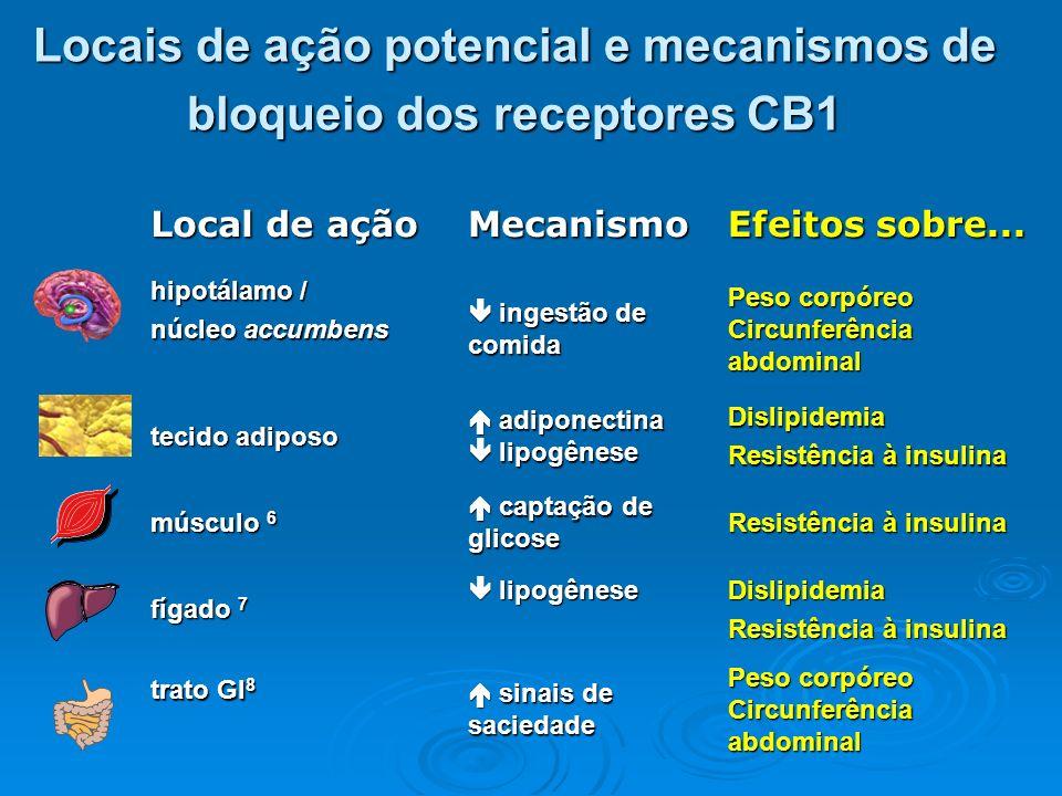 Circulação portal Fígado AGL Gordura visceral AGL=ácidos graxos livres CETP=colesterol ester transfer protein Resistência periférica à insulina Adiponectina Peso Resistência hepática insulina Produção hepática de glicose VLDL-C ricas em TG LDL-C pequenas e densas Baixo HDL-C Lipólise CETP, lipólise Dislipidemia Diabetes Tipo 2 Peso-dependente Peso-independente Sistema endocanabinóide Ing.
