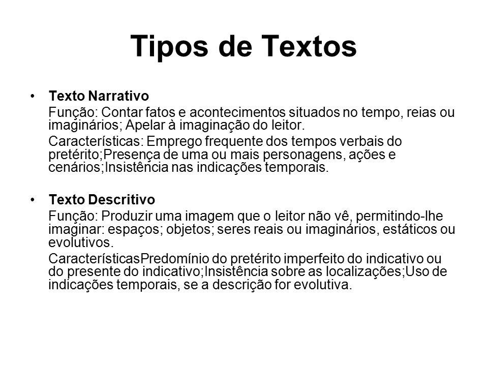 Tipos de Textos Texto Narrativo Função: Contar fatos e acontecimentos situados no tempo, reias ou imaginários; Apelar à imaginação do leitor.