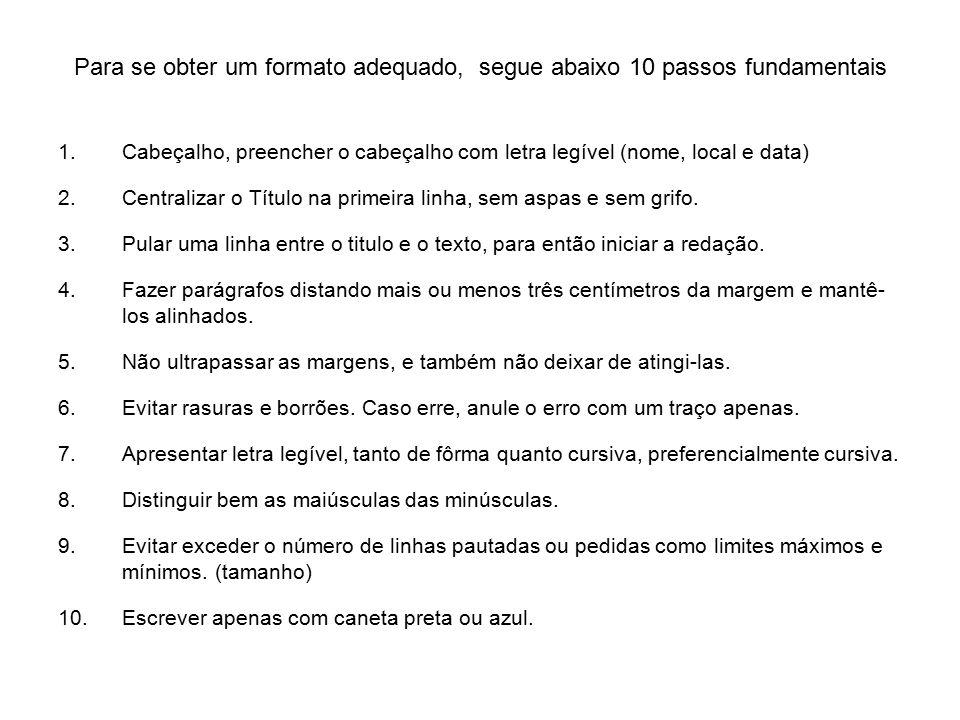 Para se obter um formato adequado, segue abaixo 10 passos fundamentais 1.Cabeçalho, preencher o cabeçalho com letra legível (nome, local e data) 2.Centralizar o Título na primeira linha, sem aspas e sem grifo.