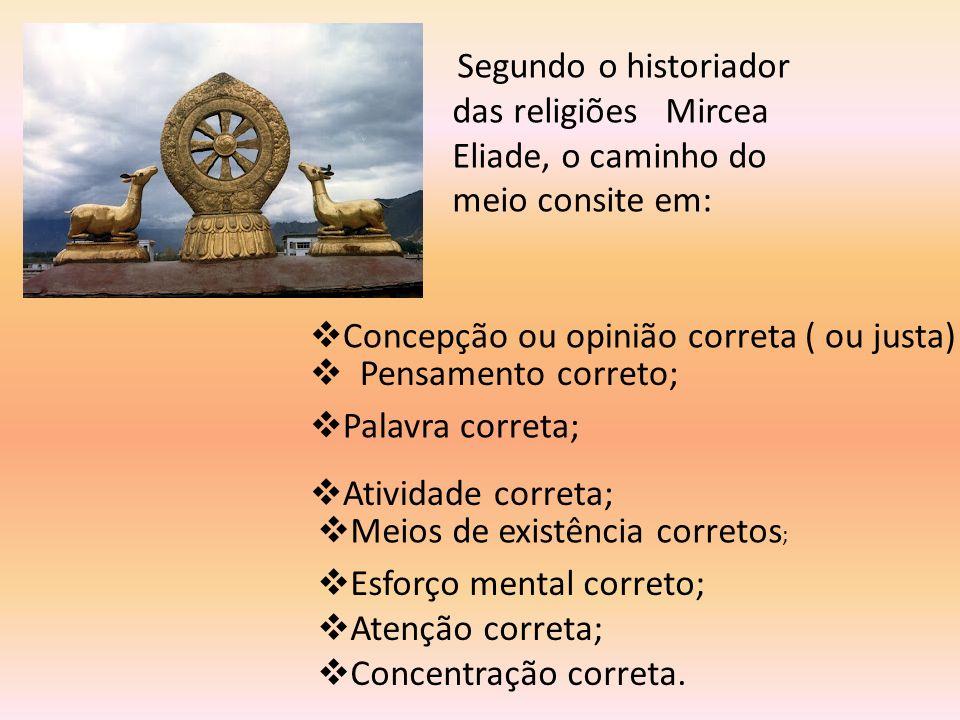 Segundo o historiador das religiões Mircea Eliade, o caminho do meio consite em:  Concepção ou opinião correta ( ou justa)  Pensamento correto;  At