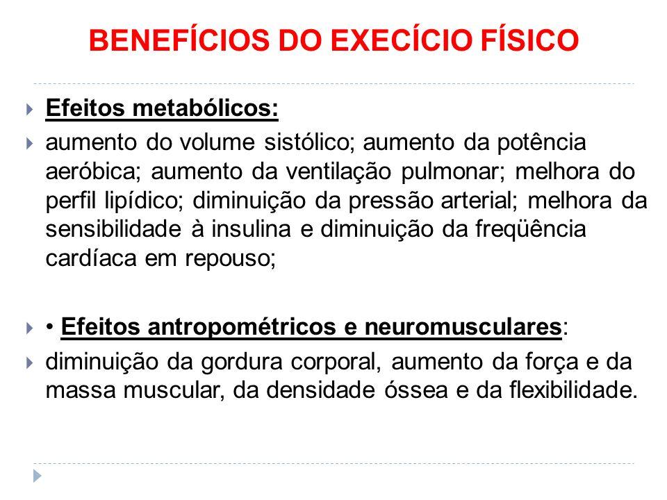BENEFÍCIOS DO EXECÍCIO FÍSICO  Efeitos metabólicos:  aumento do volume sistólico; aumento da potência aeróbica; aumento da ventilação pulmonar; melhora do perfil lipídico; diminuição da pressão arterial; melhora da sensibilidade à insulina e diminuição da freqüência cardíaca em repouso;  Efeitos antropométricos e neuromusculares:  diminuição da gordura corporal, aumento da força e da massa muscular, da densidade óssea e da flexibilidade.