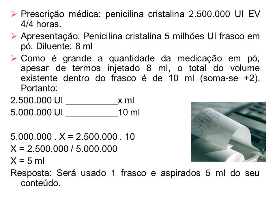  Prescrição médica: penicilina cristalina 2.500.000 UI EV 4/4 horas.  Apresentação: Penicilina cristalina 5 milhões UI frasco em pó. Diluente: 8 ml