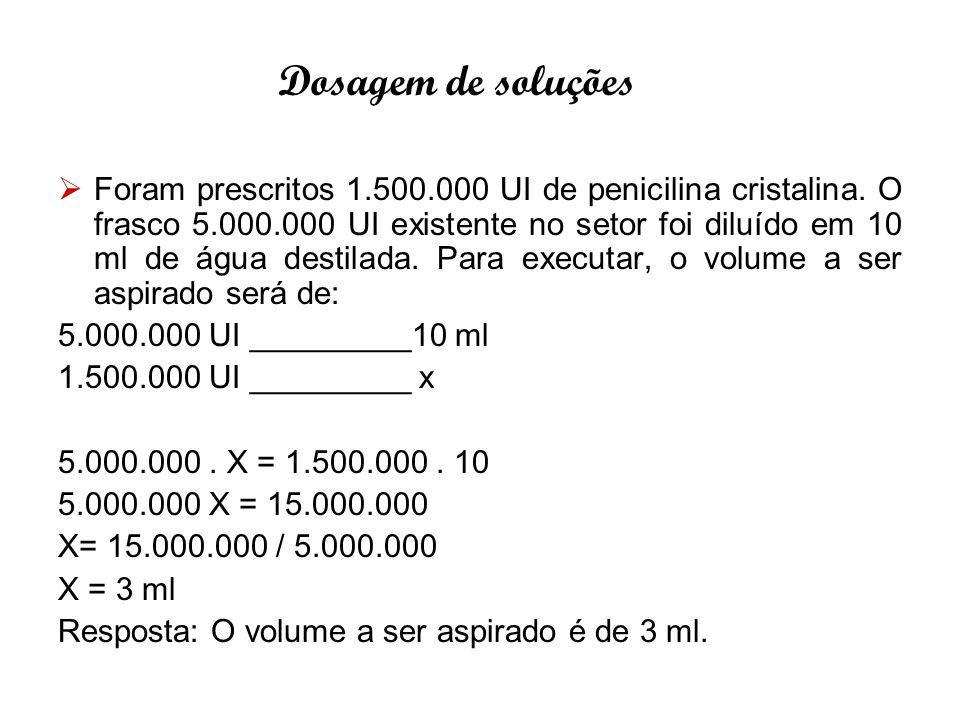  Foram prescritos 1.500.000 UI de penicilina cristalina. O frasco 5.000.000 UI existente no setor foi diluído em 10 ml de água destilada. Para execut