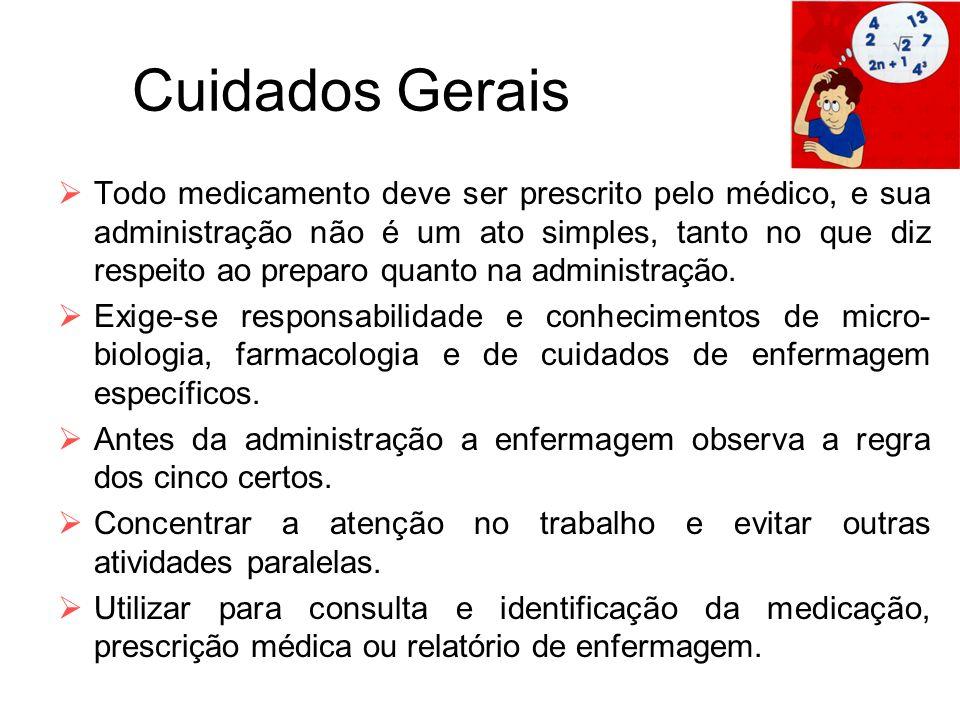 Cuidados Gerais  Todo medicamento deve ser prescrito pelo médico, e sua administração não é um ato simples, tanto no que diz respeito ao preparo quan