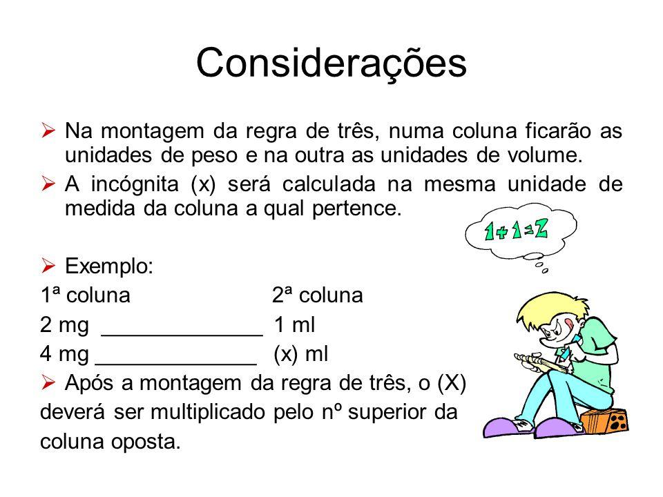 Considerações  Na montagem da regra de três, numa coluna ficarão as unidades de peso e na outra as unidades de volume.  A incógnita (x) será calcula