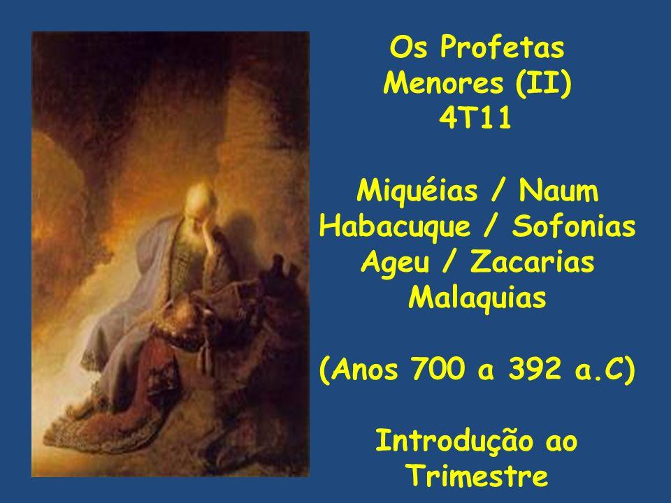 Os Profetas Menores (II) 4T11 Miquéias / Naum Habacuque / Sofonias Ageu / Zacarias Malaquias (Anos 700 a 392 a.C) Introdução ao Trimestre