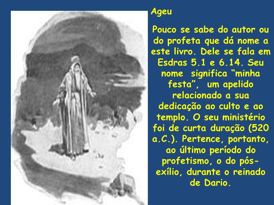 Ageu Pouco se sabe do autor ou do profeta que dá nome a este livro.