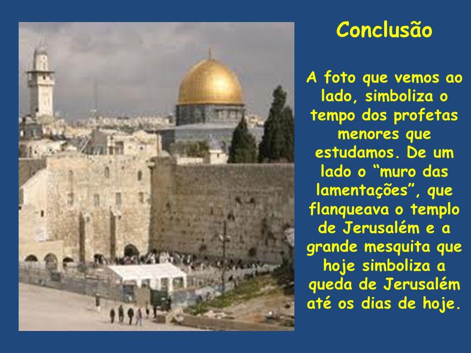 """Conclusão A foto que vemos ao lado, simboliza o tempo dos profetas menores que estudamos. De um lado o """"muro das lamentações"""", que flanqueava o templo"""