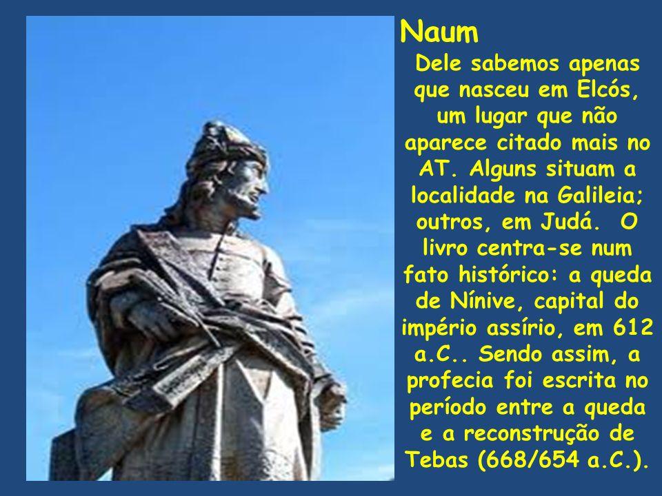 Naum Dele sabemos apenas que nasceu em Elcós, um lugar que não aparece citado mais no AT. Alguns situam a localidade na Galileia; outros, em Judá. O l