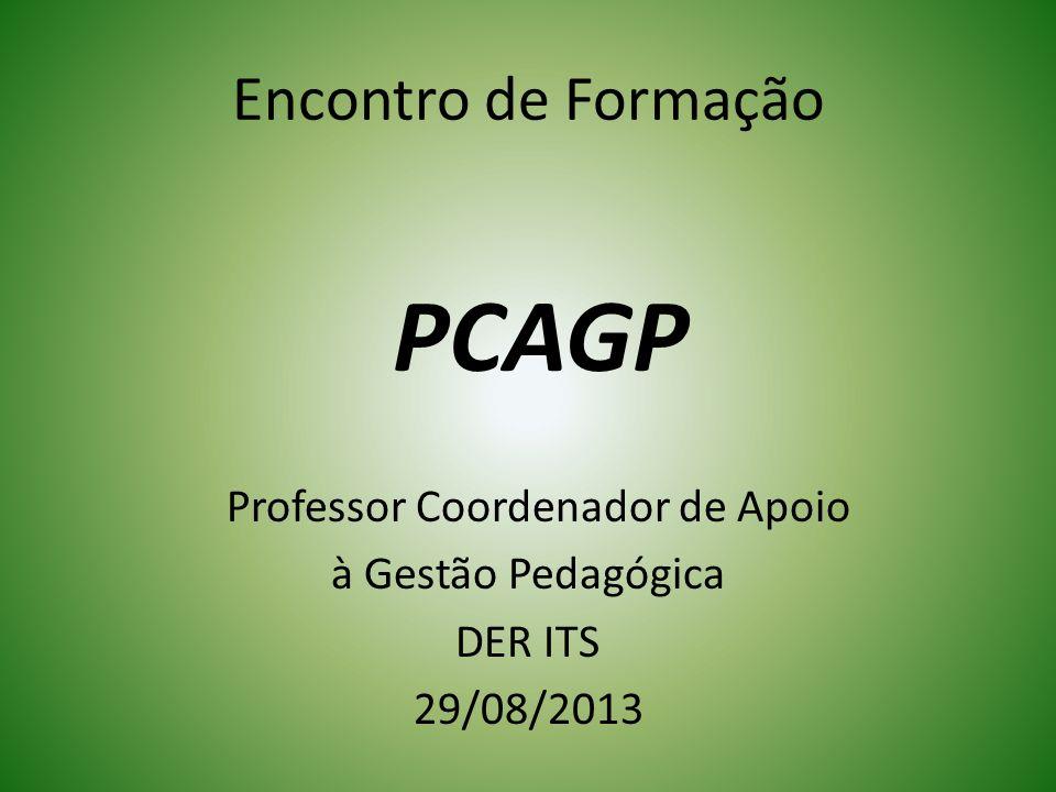 Encontro de Formação PCAGP Professor Coordenador de Apoio à Gestão Pedagógica DER ITS 29/08/2013