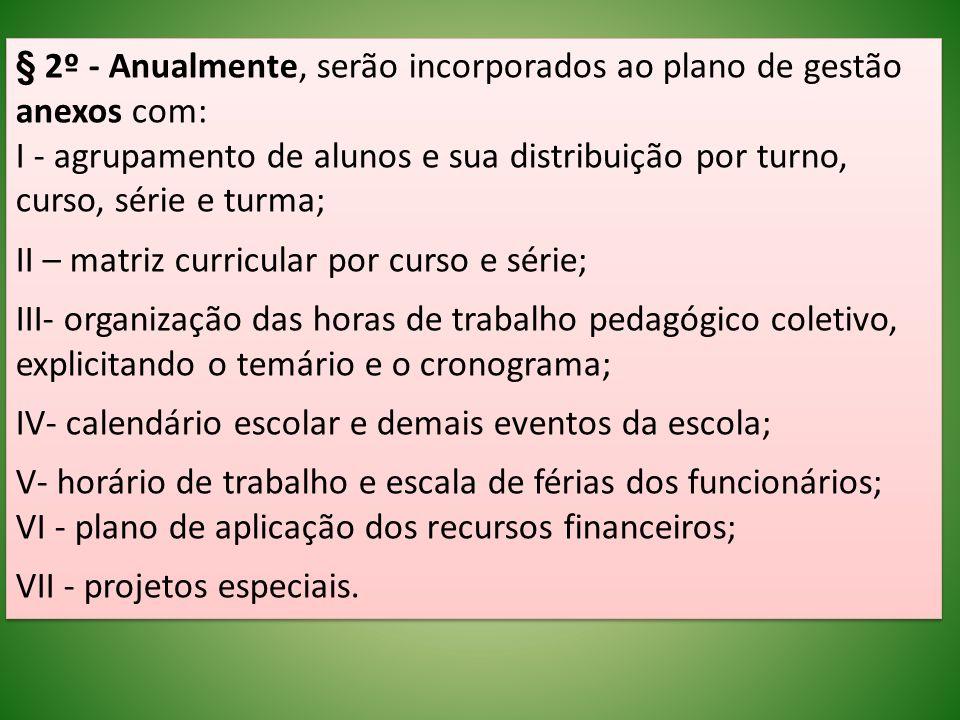 § 2º - Anualmente, serão incorporados ao plano de gestão anexos com: I - agrupamento de alunos e sua distribuição por turno, curso, série e turma; II