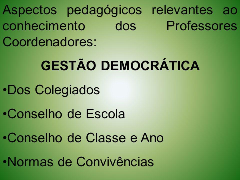 Aspectos pedagógicos relevantes ao conhecimento dos Professores Coordenadores: GESTÃO DEMOCRÁTICA Dos Colegiados Conselho de Escola Conselho de Classe
