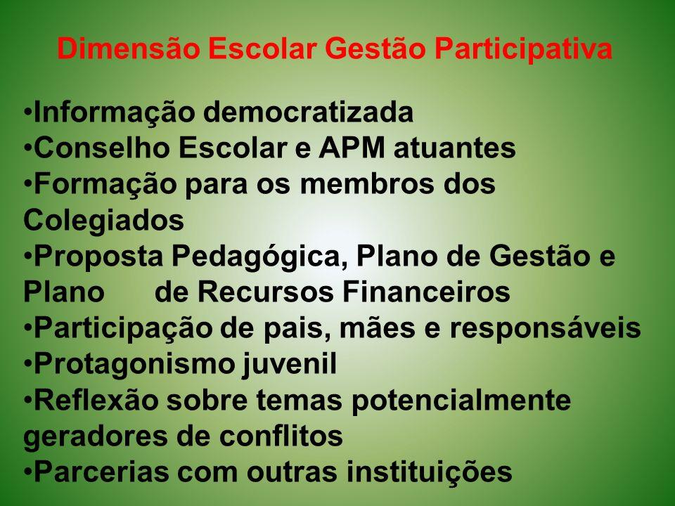 Dimensão Escolar Gestão Participativa Informação democratizada Conselho Escolar e APM atuantes Formação para os membros dos Colegiados Proposta Pedagó