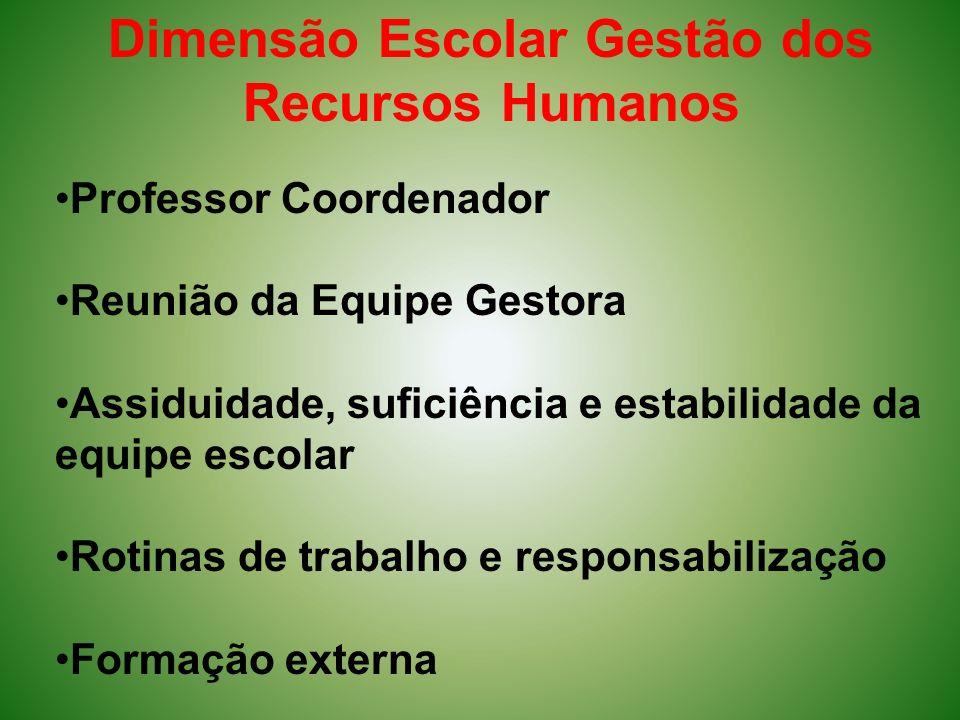 Dimensão Escolar Gestão dos Recursos Humanos Professor Coordenador Reunião da Equipe Gestora Assiduidade, suficiência e estabilidade da equipe escolar