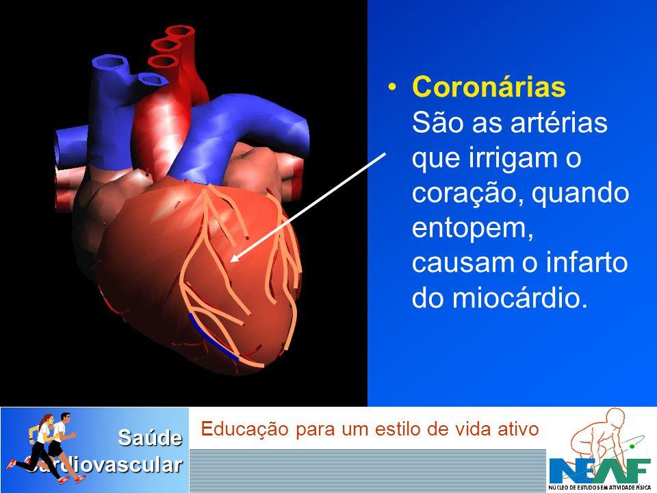 SaúdeCardiovascular Educação para um estilo de vida ativo Coronárias São as artérias que irrigam o coração, quando entopem, causam o infarto do miocár
