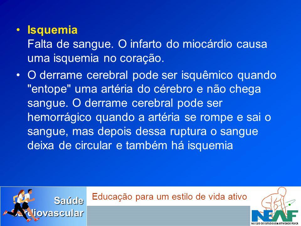 SaúdeCardiovascular Educação para um estilo de vida ativo Isquemia Falta de sangue. O infarto do miocárdio causa uma isquemia no coração. O derrame ce