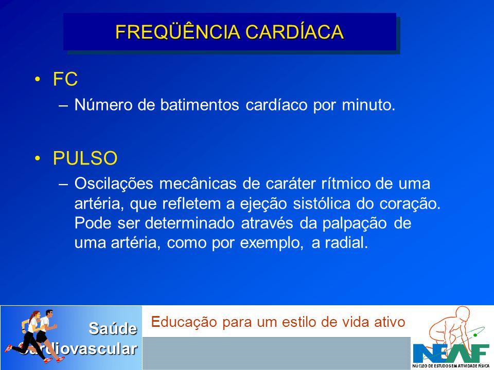 SaúdeCardiovascular Educação para um estilo de vida ativo FC –Número de batimentos cardíaco por minuto. PULSO –Oscilações mecânicas de caráter rítmico