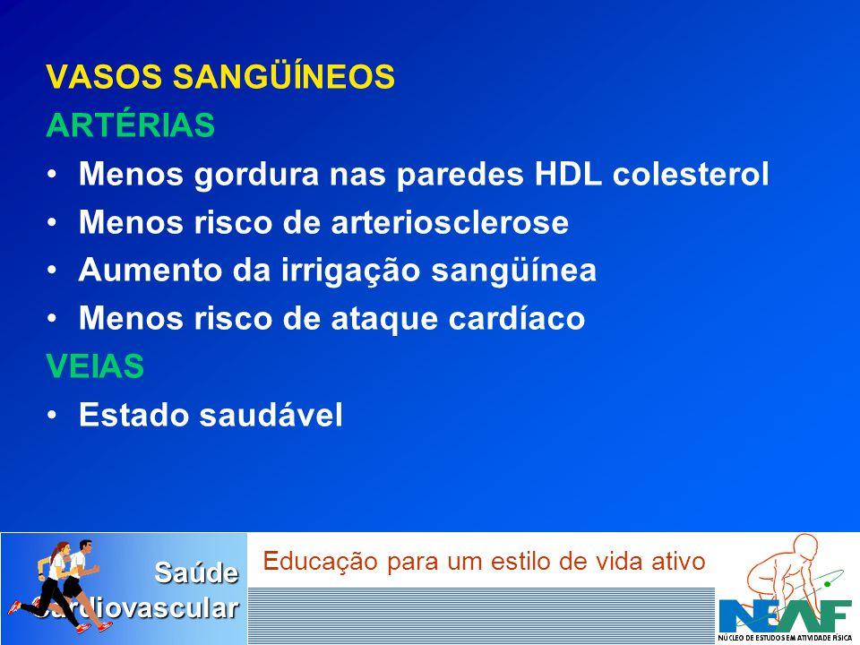 SaúdeCardiovascular Educação para um estilo de vida ativo VASOS SANGÜÍNEOS ARTÉRIAS Menos gordura nas paredes HDL colesterol Menos risco de arterioscl