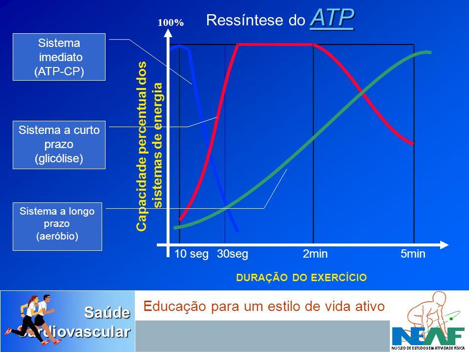 SaúdeCardiovascular Educação para um estilo de vida ativo 10 seg30seg2min5min ATP Ressíntese do ATP 100% Capacidade percentual dos sistemas de energia