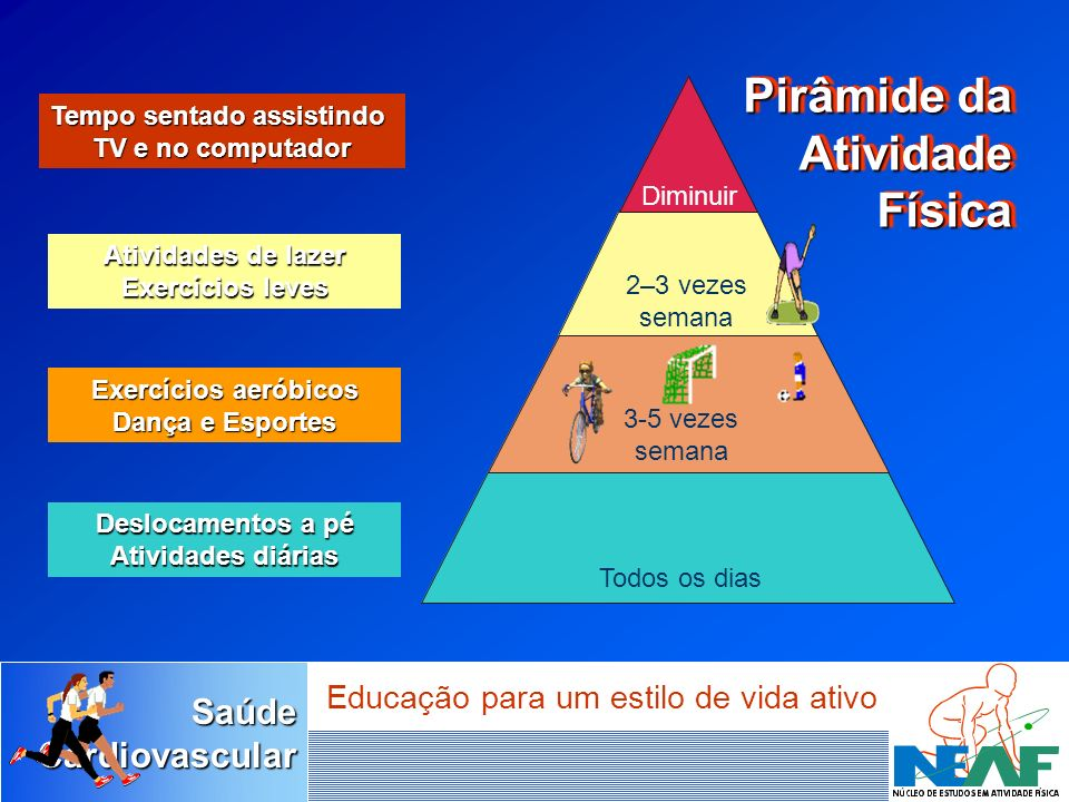 SaúdeCardiovascular Educação para um estilo de vida ativo Tempo sentado assistindo TV e no computador Atividades de lazer Exercícios leves Exercícios