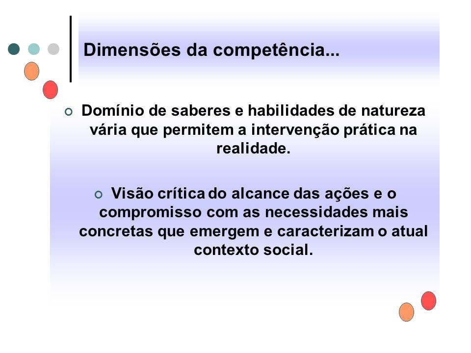 Dimensões da competência... Domínio de saberes e habilidades de natureza vária que permitem a intervenção prática na realidade. Visão crítica do alcan