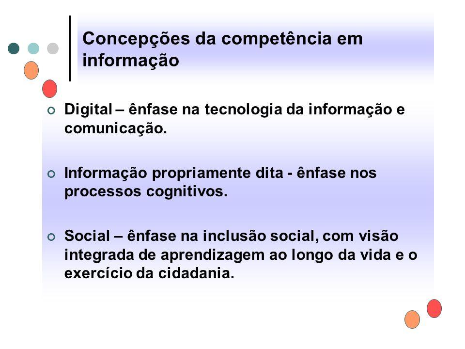 Concepções da competência em informação Digital – ênfase na tecnologia da informação e comunicação. Informação propriamente dita - ênfase nos processo