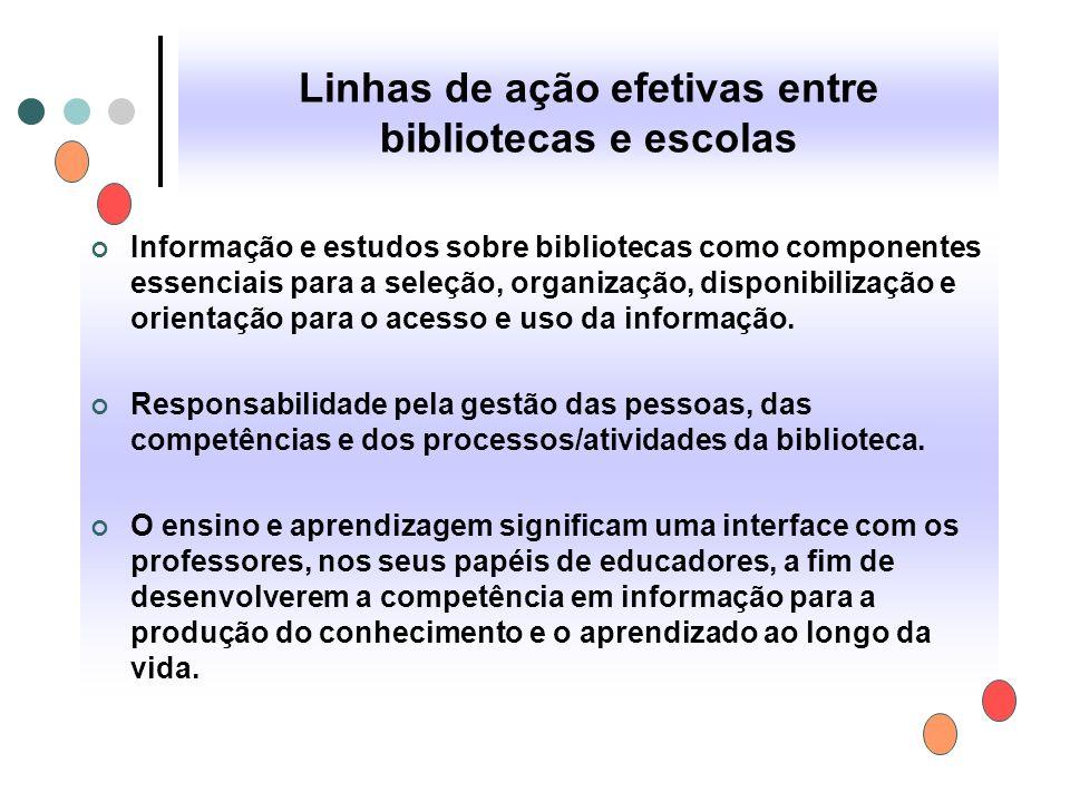 Linhas de ação efetivas entre bibliotecas e escolas Informação e estudos sobre bibliotecas como componentes essenciais para a seleção, organização, di