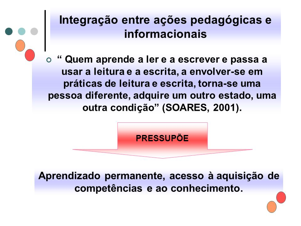 """Integração entre ações pedagógicas e informacionais """" Quem aprende a ler e a escrever e passa a usar a leitura e a escrita, a envolver-se em práticas"""