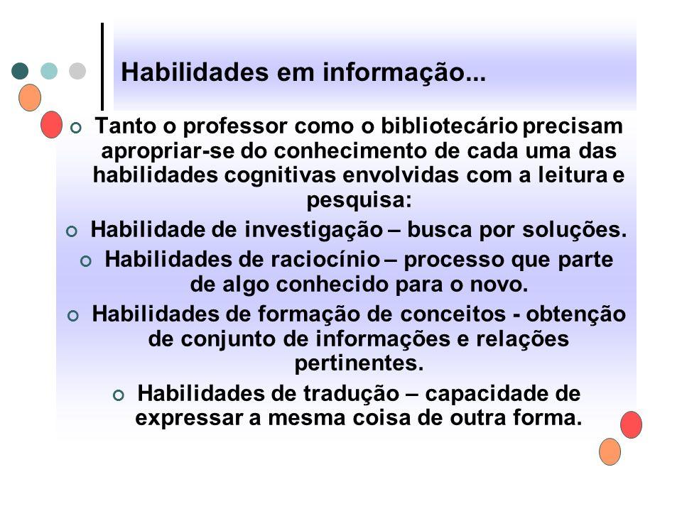 Habilidades em informação... Tanto o professor como o bibliotecário precisam apropriar-se do conhecimento de cada uma das habilidades cognitivas envol