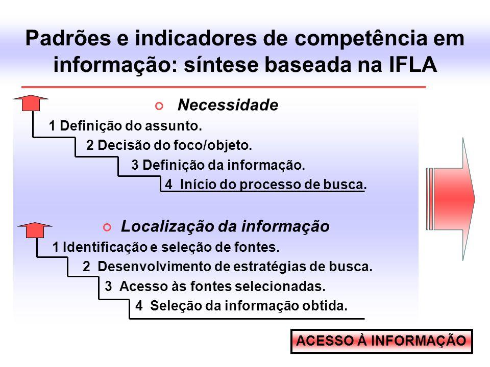 Padrões e indicadores de competência em informação: síntese baseada na IFLA Necessidade 1 Definição do assunto. 2 Decisão do foco/objeto. 3 Definição