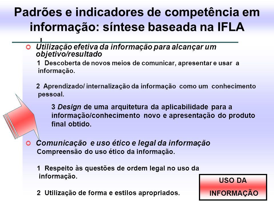 Padrões e indicadores de competência em informação: síntese baseada na IFLA Utilização efetiva da informação para alcançar um objetivo/resultado 1 Des