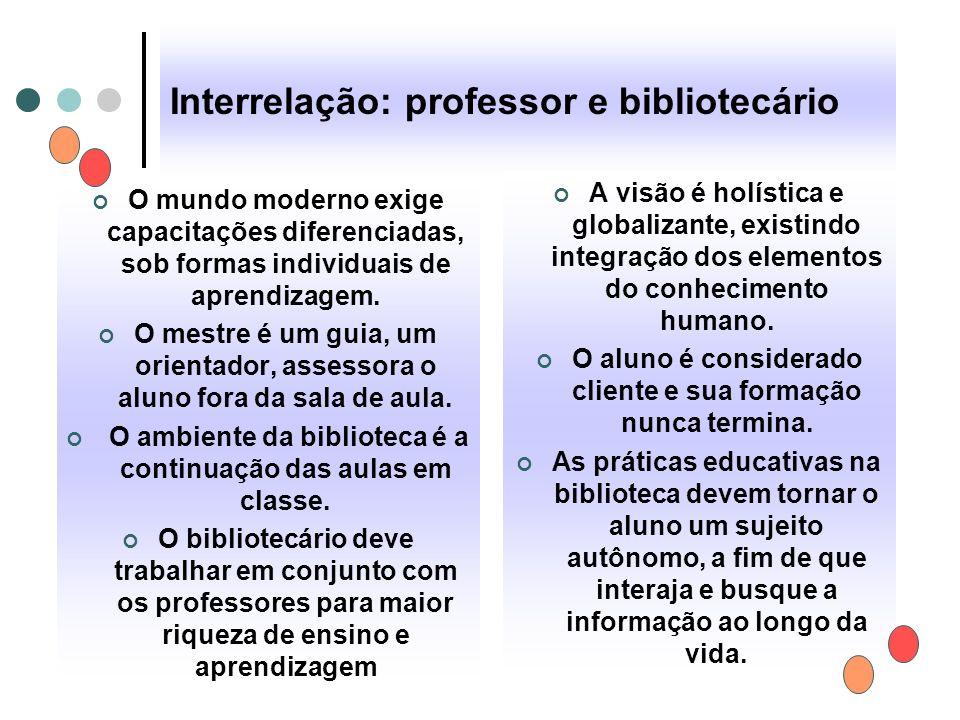 Interrelação: professor e bibliotecário O mundo moderno exige capacitações diferenciadas, sob formas individuais de aprendizagem. O mestre é um guia,
