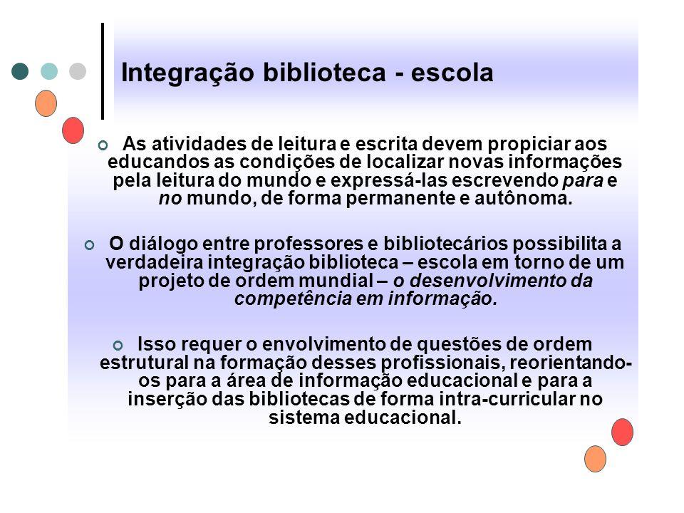 Integração biblioteca - escola As atividades de leitura e escrita devem propiciar aos educandos as condições de localizar novas informações pela leitu
