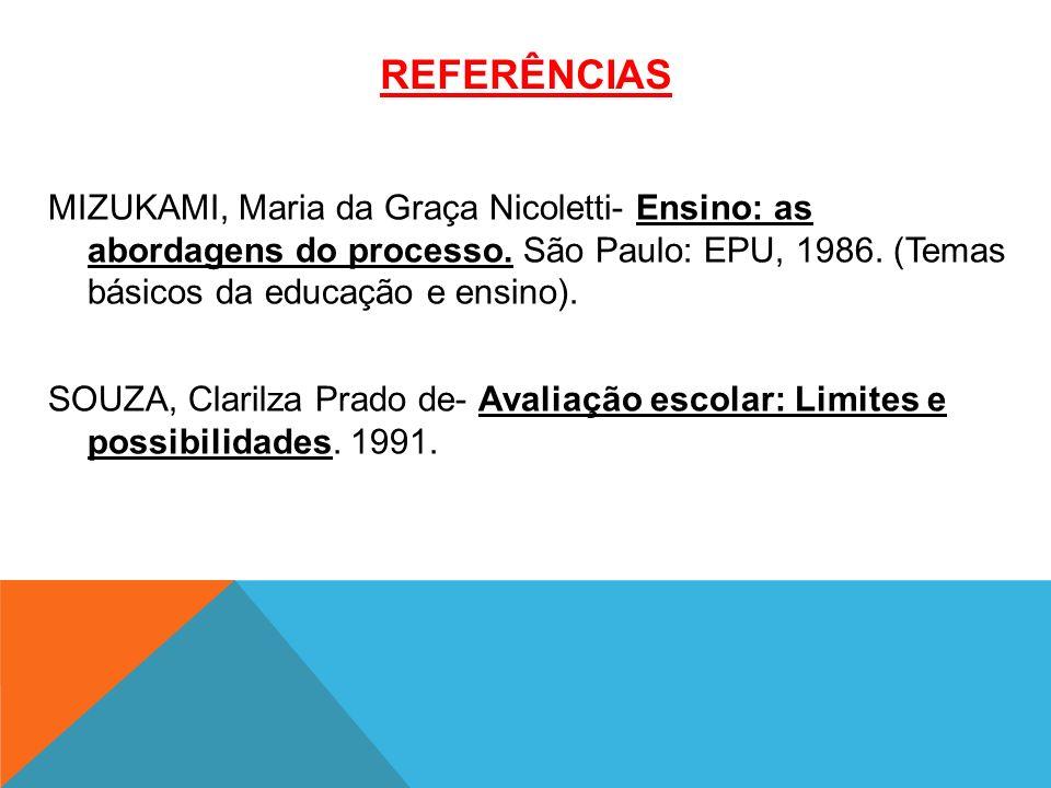 REFERÊNCIAS MIZUKAMI, Maria da Graça Nicoletti- Ensino: as abordagens do processo.