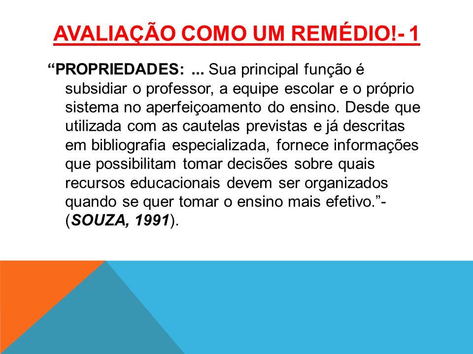 AVALIAÇÃO COMO UM REMÉDIO!- 1 PROPRIEDADES:...
