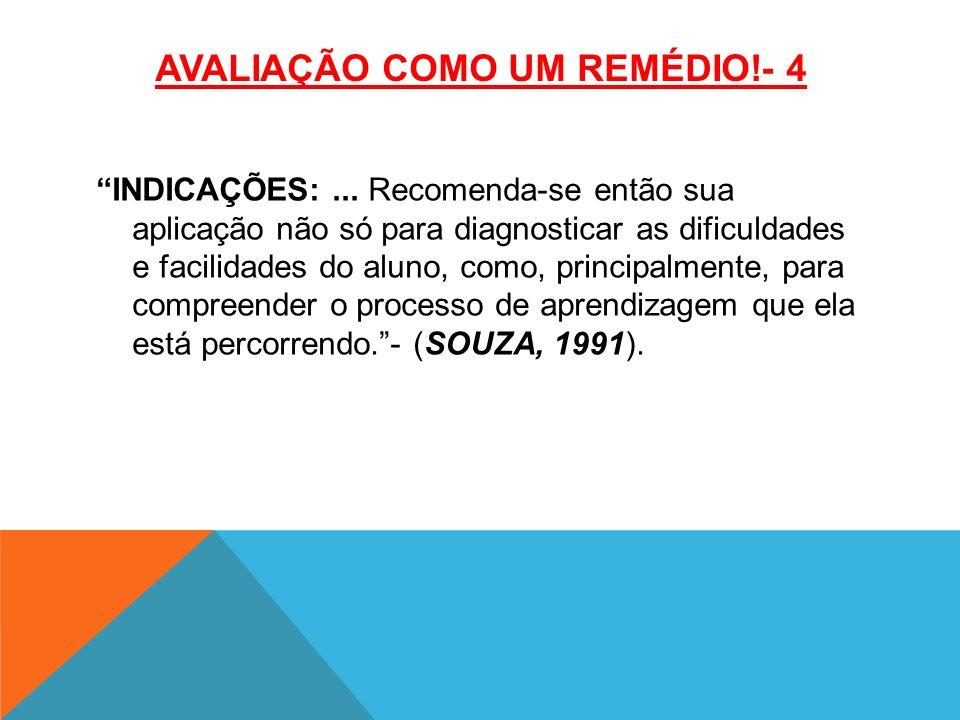 AVALIAÇÃO COMO UM REMÉDIO!- 4 INDICAÇÕES:...