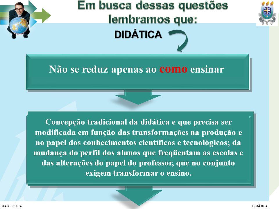 Concepção tradicional da didática e que precisa ser modificada em função das transformações na produção e no papel dos conhecimentos científicos e tec