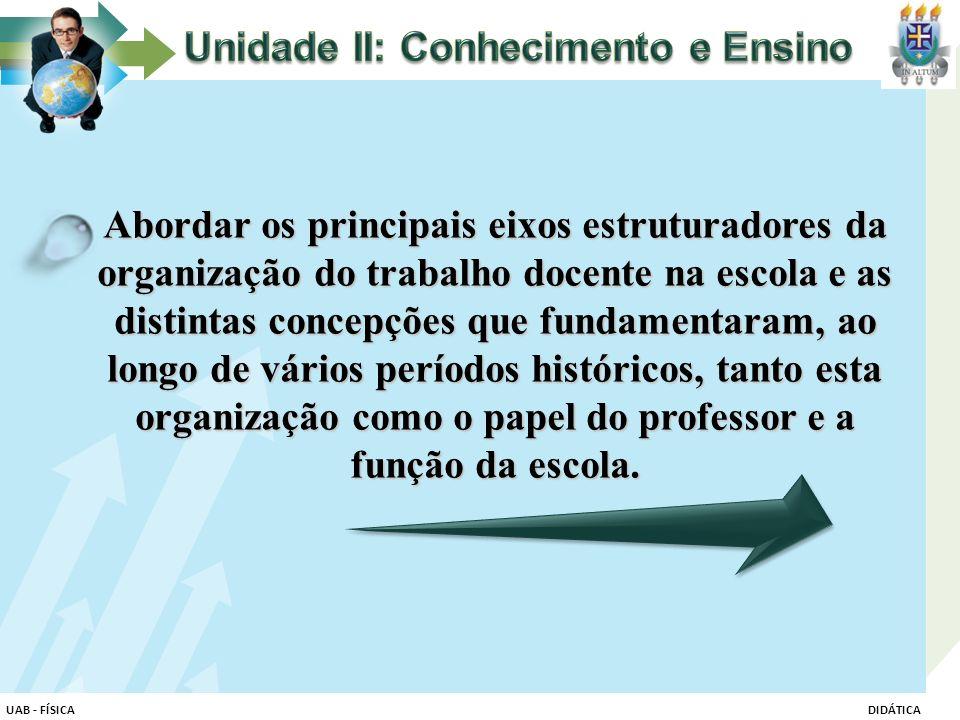 Abordar os principais eixos estruturadores da organização do trabalho docente na escola e as distintas concepções que fundamentaram, ao longo de vário