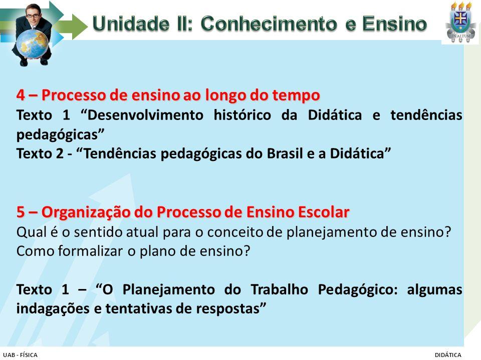"""4 – Processo de ensino ao longo do tempo Texto 1 """"Desenvolvimento histórico da Didática e tendências pedagógicas"""" Texto 2 - """"Tendências pedagógicas do"""