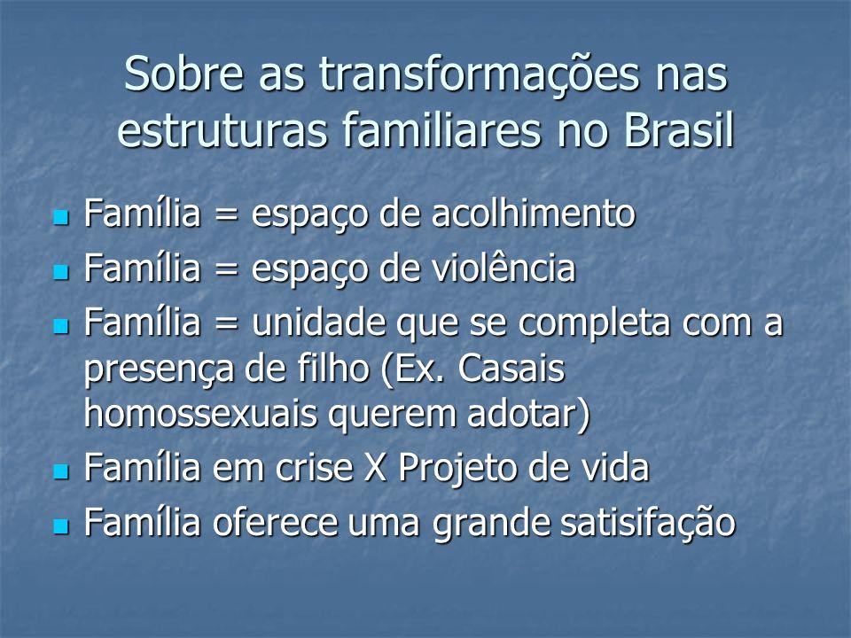 Sobre as transformações nas estruturas familiares no Brasil Família = espaço de acolhimento Família = espaço de acolhimento Família = espaço de violên