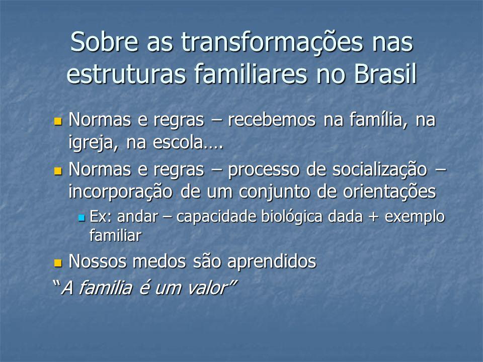 Sobre as transformações nas estruturas familiares no Brasil Normas e regras – recebemos na família, na igreja, na escola…. Normas e regras – recebemos